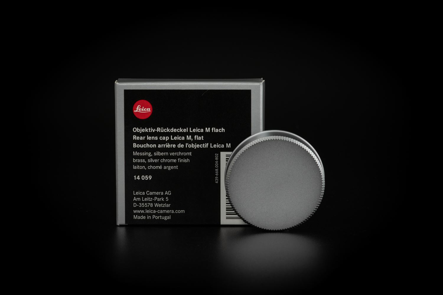Picture of leica Rear lens cap M, flat, brass, silver chrome finish