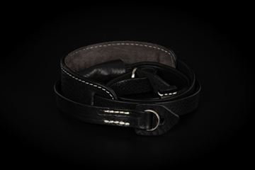 Picture of Angelo Pelle Neck Strap, Padded - Black Monochrome (Ivory Stitching)